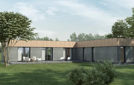 Projektas # 1.1. Vieno aukšto su sutapdintu (plokščiu) stogu, 148 m²