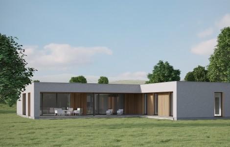 Projektas # 1.2. Vieno aukšto su sutapdintu (plokščiu) stogu, 167 m²
