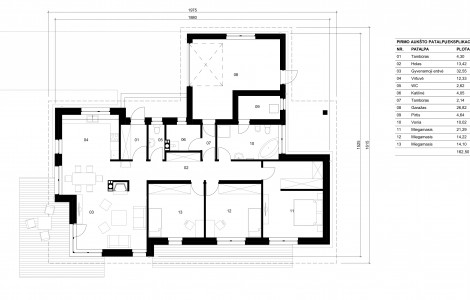 Projektas # 2. Vieno aukšto su daugiašlaičiu stogu, 162 m²