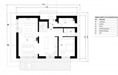 Projektas # 4.1. Vieno aukšto su nepakelta mansarda, 157 m²
