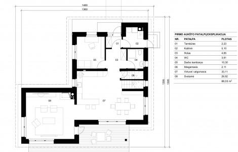 Projektas # 5.1. Vieno aukšto su pakelta mansarda, 151 m²