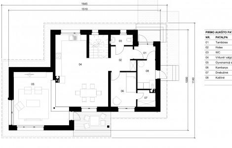 Projektas # 5.2. Vieno aukšto su pakelta mansarda, 151 m²