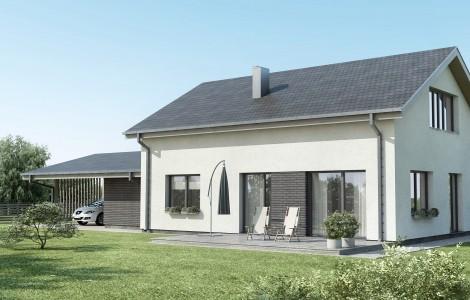 Projektas # 5.5. Vieno aukšto su pakelta mansarda, 165 m²