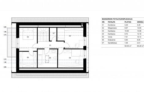 Projektas # 4.2. Vieno aukšto su nepakelta mansarda, 130 m²