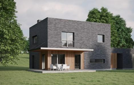 Projektas # 6. Dviejų aukštų su sutapdintu (plokščiu) stogu, 154 m²