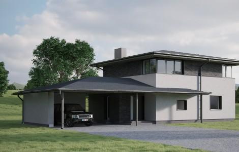 Projektas # 7. Dviejų aukštų su daugiašlaičiu stogu, 155 m²