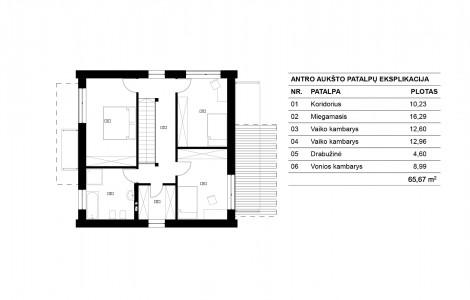 Projektas # 8. Dviejų aukštų su dvišlaičiu stogu, 135 m²