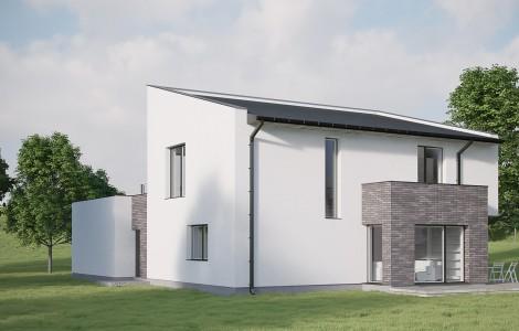 Projektas # 9. Dviejų aukštų su vienšlaičiu stogu, 201 m²